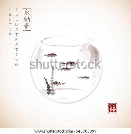 aquarium with five small fishes