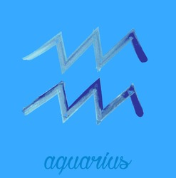 aquarius icon of zodiac, Vector icon. astrological signs, colorful image of horoscope. Watercolour style