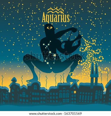 aquarius sign in the starry sky