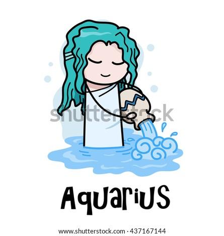 aquarius zodiac  a hand drawn