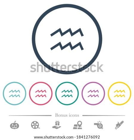 aquarius zodiac symbol flat