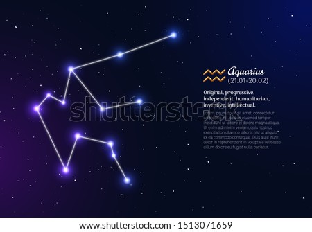 Aquarius zodiacal constellation with bright stars. Aquarius star sign and dates of birth on deep space background. Astrology horoscope with unique positive personality traits vector illustration.