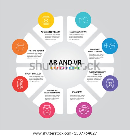 Ar And Vr Infographics vector design. Timeline concept include augmented reality, 360 view, virtual reality icons. Can be used for report, presentation, diagram, web design.