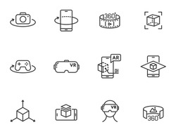 AR and VR line icon set isolated on white background. Virtual and augmented reality outline icons for web design, mobile apps, ui design and print. 3D visualization technology