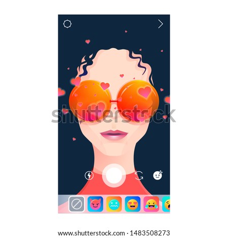 AR filter Insta gram screen interface photo frame in social media application with woman face. Selfie design app post template. Vector mock up illustration