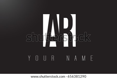 AR Letter Logo With Black and White Letters Negative Space Design.
