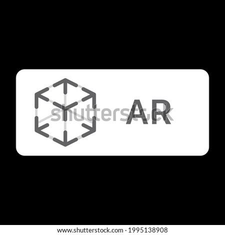 AR logo design for app. Augmented reality cube. Icon mock-up template for a web or mobile app. augmented reality with thin line cube. flat linear trend modern ar logotype graphic art design isolated. Photo stock ©