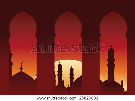 Arab balcony view islamic skyline.