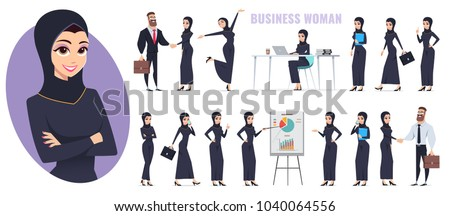 Arab business woman and arab business man character set. Working people vector flat design.