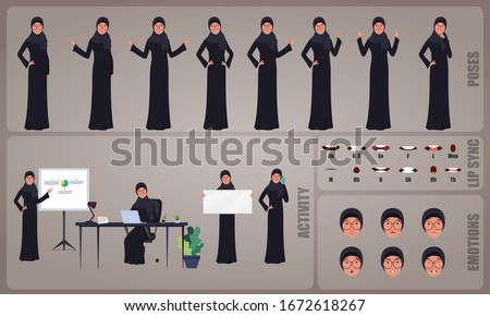 Arab Business woman or office worker character Set. Collection of character body Poses, facial gestures, Business activities and Lip syncs poses. Ready-to-use and animate, character set. Vector.