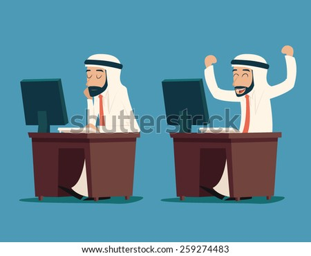 Arab Businessman at Desk Working on Computer Cartoon Characters Icon Stylish Background Retro Design Vector Illustration