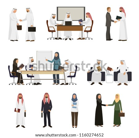 Arab businessman vector arabian business people handshaking to his business partner illustration set of arabic businesswoman working in office isolated on white background