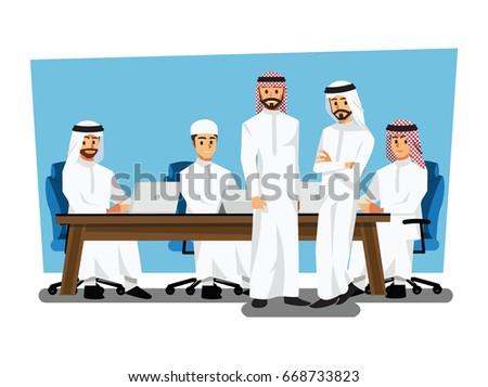 Arab businessman wearing traditional clothing Having Board Meeting,Vector illustration cartoon character