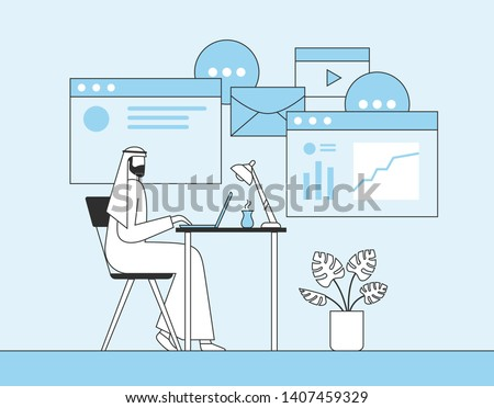 Arab businessman working with laptop in office. Web page, banner, presentation, social media, posters background. Flat vector illustration.
