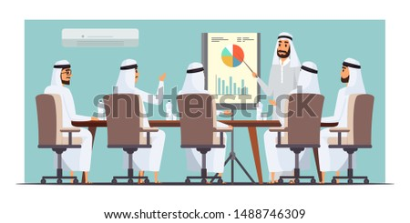 Arab businessmen meeting flat vector illustration. Stock market analysis, business presentation, conference drawing. Arabian analyst, brokers analyzing statistics cartoon characters
