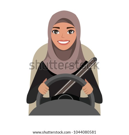 arab businesswoman driving a