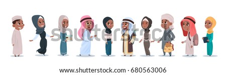 Arab Children Girls And Boys Group Small Cartoon Pupils Collection Muslim Students Flat Vector Illustration