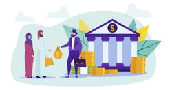 Arab Family and Bank Worker with Money in Hand. Buying Home. Vector Illustration. Сoin and Banknote. Goal Achievement. Arab Family. Bank Worker. Broker and Client. Money in Hand. Contract with Bank.