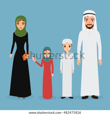 Arab family in national clothes Traditional muslim parents with two children boy and girl.