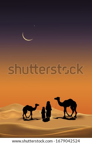 arab family with camels caravan