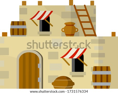 Arab house. Medieval stone building in middle East. Element of old city and landscape. Barrel, canopy, window and door. Brown walls. Cartoon flat illustration