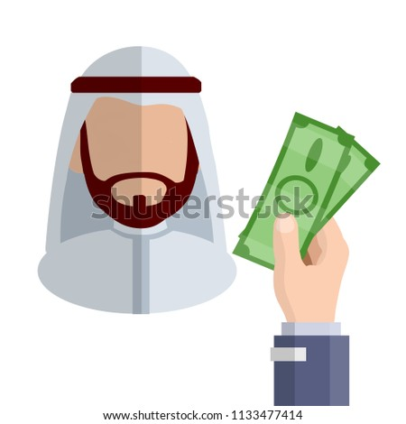 Arab in national white clothes. middle Eastern man with a beard. man without a face with a shadow. hand with green banknotes is a business transaction. Financial operation - Cartoon flat illustration