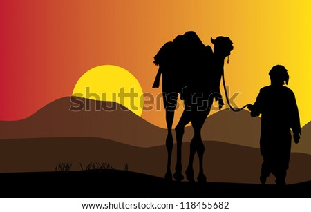 arab male with camel vector