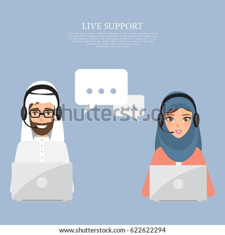 Arab man and arab woman to customer service. Illustration vector of arab people.