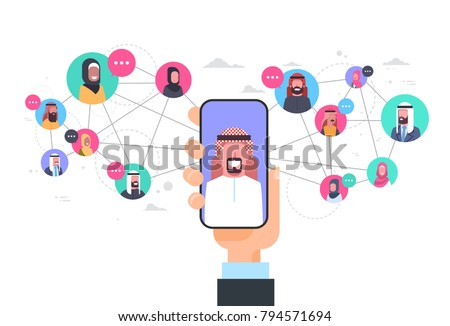 Arab Man Hand Holding Smart Phone Network Communication Concept Group Of Arabic People Connection Flat Vector Illustration