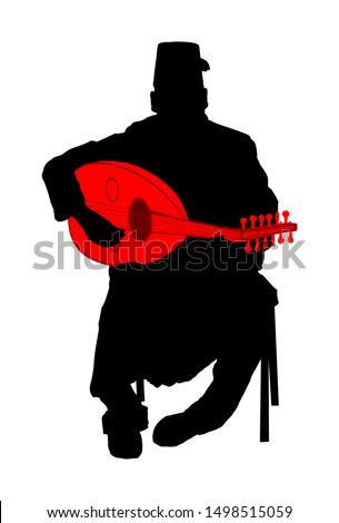 arab man play oud  lute or