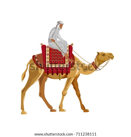arab man riding a camel vector