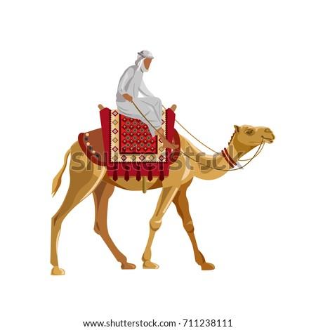 arab man riding a camel vector