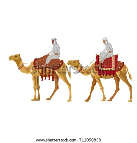 Arab men riding a camel. Vector illustration isolated on white background