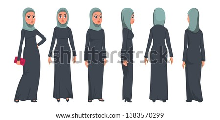 Arab muslim woman character isolated on white background. Muslim woman wearing traditional clothing front, rear, side view. Vector woman in hijab illustration in flat style.