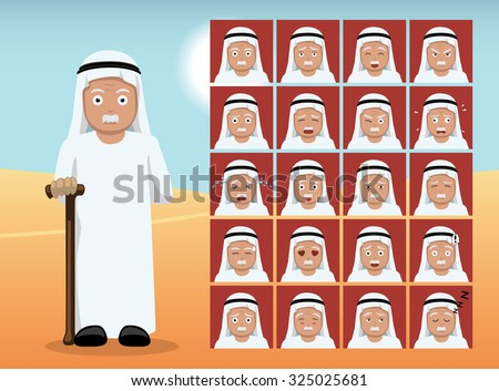 arab old man cartoon emotion