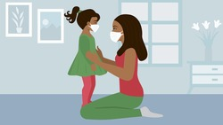 Arab or African mother wearing medical mask protection for daughter at home. Stop the infection. Coronavirus quarantine. Stay at home. Health care. Mask against infectious diseases,Covid-19, influenza