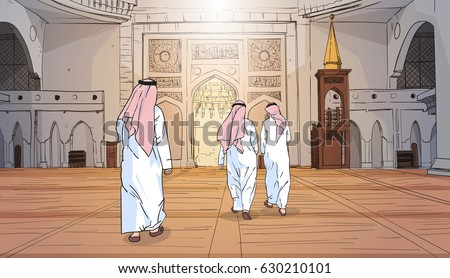Arab People Coming To Mosque Building Muslim Religion Ramadan Kareem Holy Month Vector Illustration