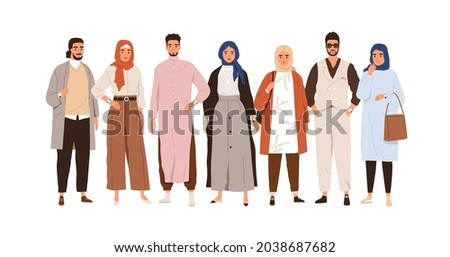 Arab people in modern outfits. Group portrait of Muslim Arabian man and woman in stylish clothes and headwear. Oriental Saudi humans. Flat graphic vector illustration isolated on white background