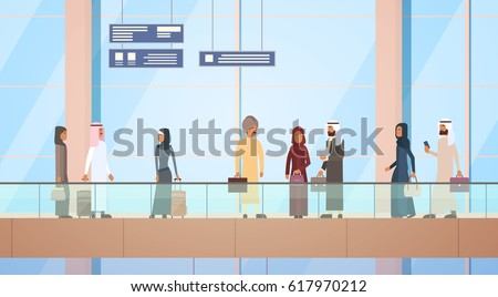 Arab Traveler People Airport Hall Departure Terminal Travel Baggage Bag Suitcase, Muslim Passenger Check In Luggage Flat Vector Illustration