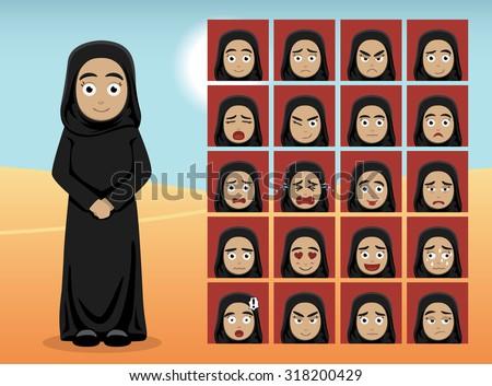 arab woman cartoon emotion