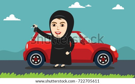 arab woman or girl being happy