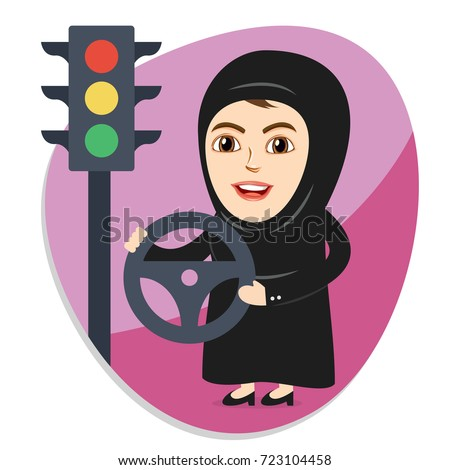 Arab Woman or Girl being happy after getting Permission to Drive, and Holding Car Steering. Female Drivers are allowed Driving License now. Traffic Signals in the Pink  Background.