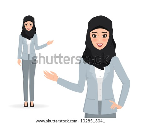 arab woman presenting character. people illustration vector design.