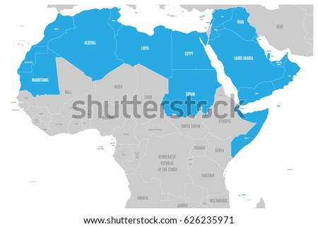 Arab World states political map with higlighted 22 arabic-speaking countries of the Arab League. Northern Africa and Middle East region. Vector illustration.