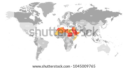 Arab World states political map with higlighted 22 arabic-speaking countries of the Arab League in the map of World. Northern Africa and Middle East region. Vector illustration.