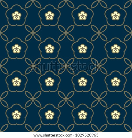Arabesque geometric simple motif. Oriental lattice background. Golden floral medallion on a indigo seamless vector design. Decorative printing block. Small flowers and leaves allover vintage ornament.