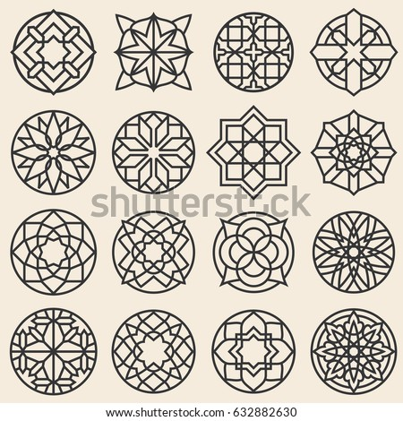 Arabesque ornaments. Vector star logo design template in arabic style