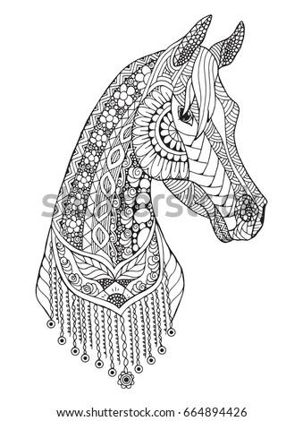 arabian horse zentangle