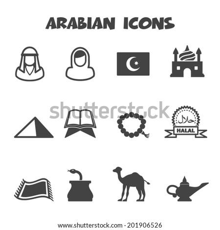 arabian icons mono vector symbols