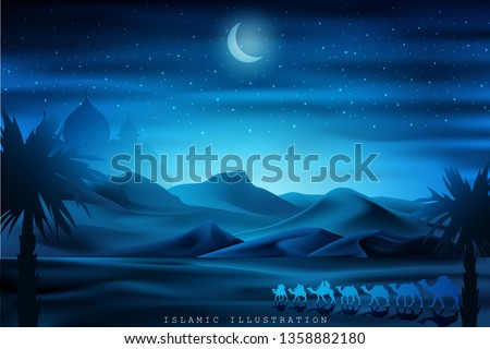 Arabian land by riding on camels at night accompanied by sparkles of stars, mosques for illustrative Islamic background